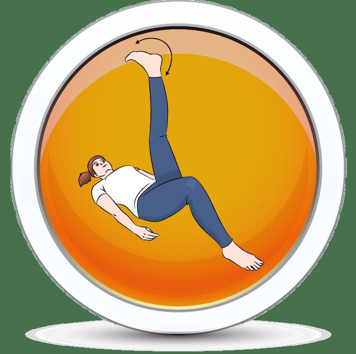 Wzmacnianie stawu skokowego po przez krążenie stóp w leżeniu tyłem